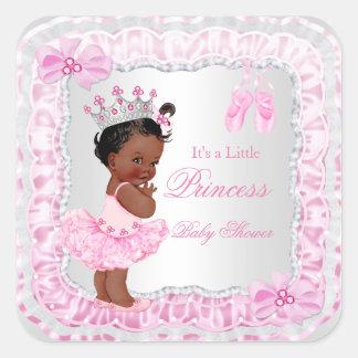 Bailarina del rosa del chica de la princesa fiesta pegatina cuadrada