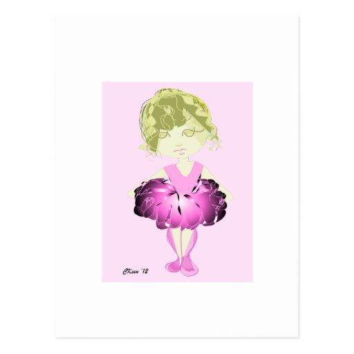Bailarina del tutú del rosa de la impresión de tarjetas postales