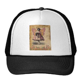 Bailarina del vintage en fondo de las Ephemeras Gorros