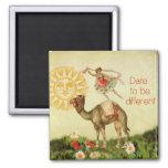 Bailarina del vintage, flores, y collage del camel iman de frigorífico