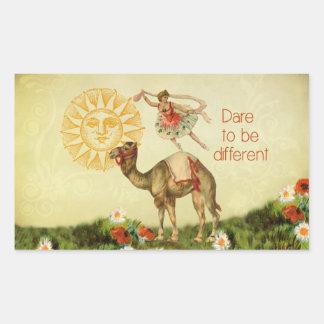 Bailarina del vintage flores y collage del camel rectangular pegatina