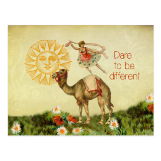 Bailarina del vintage, flores, y collage del camel postal