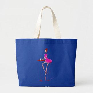 Bailarina en ballet rosado del tutú en el bolso de bolsa tela grande