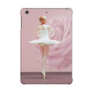 Bailarina en blanco con color de rosa rosado