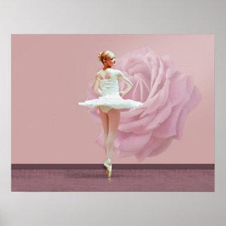 Bailarina en blanco con color de rosa rosado póster
