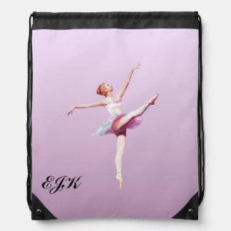 Bailarina en blanco y rosado, personalizable mochila