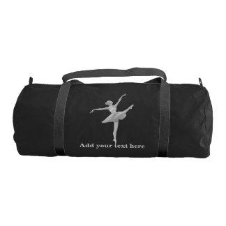 Bailarina en de plata y negro, texto bolsa de deporte