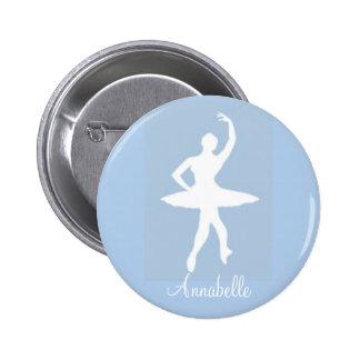 Bailarina en el botón redondo azul de Pinback