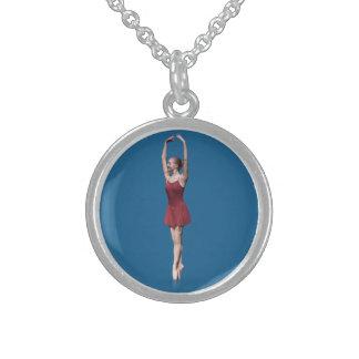 Bailarina en el rojo, posición del En Pointe Collar De Plata Esterlina