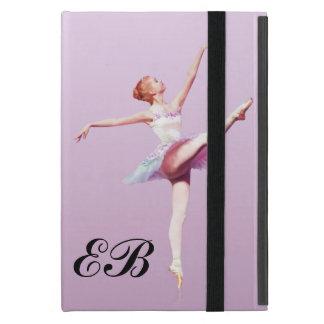 Bailarina en el rosa y la lavanda, monograma iPad mini coberturas
