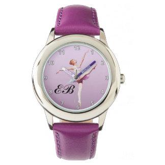 Bailarina en el rosa y la lavanda, monograma relojes