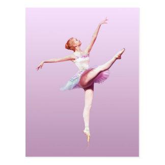 Bailarina en el rosa y la lavanda monograma tarjeta postal