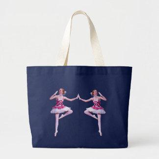Bailarina en la bolsa de asas rosada y blanca