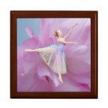 Bailarina en la caja de regalo rosada y azul joyero cuadrado grande