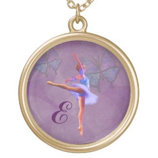 Bailarina en la posición del Arabesque, monograma Colgante Redondo