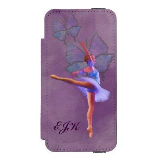 Bailarina en la posición del Arabesque, monograma Funda Billetera Para iPhone 5 Watson