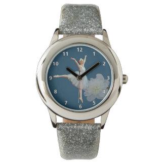Bailarina en Peony azul, blanco con números Relojes De Pulsera