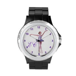 Bailarina en personalizable púrpura y blanco reloj de mano
