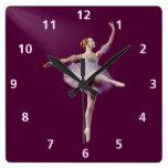 Bailarina en personalizable púrpura y blanco reloj de pared