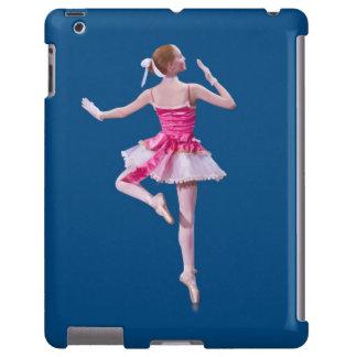 Bailarina en personalizable rosado y blanco funda para iPad