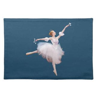 Bailarina en Placemat blanco, adaptable Mantel