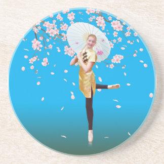 Bailarina en práctico de costa del tiempo de la fl posavasos cerveza