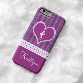 Bailarina en Purple Heart con las rayas verticales Funda Para iPhone 6 Barely There