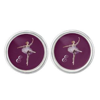 Bailarina en púrpura y blanco, monograma gemelos