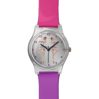 Bailarina en púrpura y blanco reloj de mano