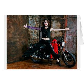 Bailarina en una bici 1 tarjeta de felicitación