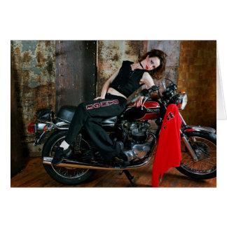 Bailarina en una bici 2 tarjeta de felicitación