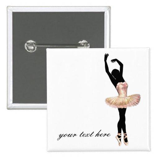 Bailarina hermosa en rosa pin cuadrado
