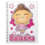 Bailarina linda de Kawaii que hace ballet Libreta