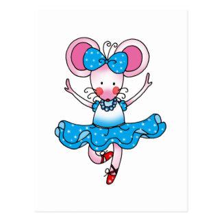 Bailarina linda del chica del ratón postal