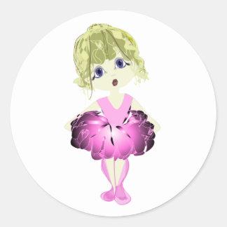 Bailarina linda en arte rosado del tutú etiquetas redondas