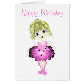 Bailarina linda en arte rosado del tutú tarjeta de felicitación