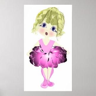 Bailarina linda en poster rosado del arte del tutú