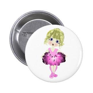 Bailarina linda en regalos rosados del arte del tu pin redondo 5 cm