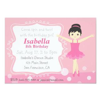"""Bailarina linda en rosa, fiesta de cumpleaños del invitación 4.5"""" x 6.25"""""""