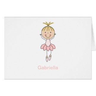 Bailarina linda, rosada, de baile tarjeta de felicitación