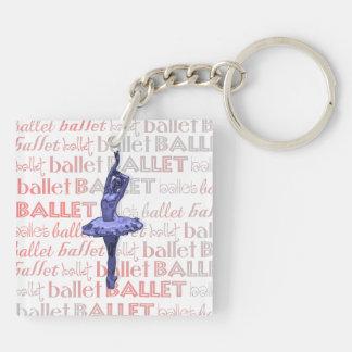 Bailarina metálica azul llavero cuadrado acrílico a doble cara