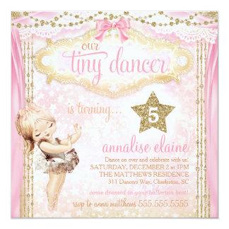 """Bailarina minúscula del bailarín del vintage invitación 5.25"""" x 5.25"""""""