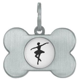 Bailarina negra y blanca Silhoutte del baile Placa Mascota