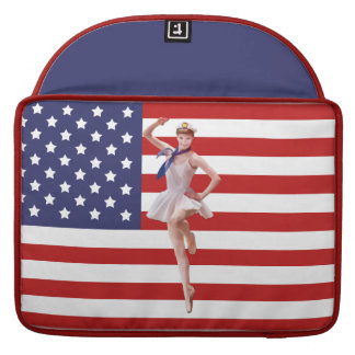 Bailarina patriótica con la bandera americana fundas macbook pro