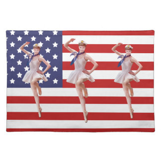 Bailarina patriótica con la bandera americana Plac Manteles