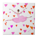 Bailarina preciosa en tutú rosado y corazones colo azulejo ceramica