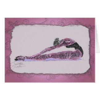 Bailarina que estira en rosa tarjetas