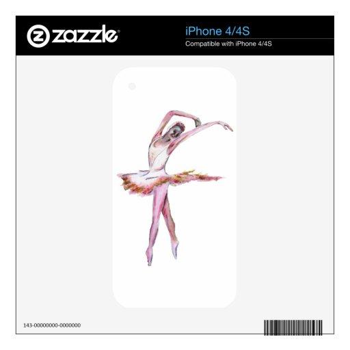 Bailarina, regalos del arte de la danza del ballet calcomanías para iPhone 4