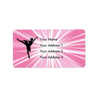Bailarina rosada de la estrella etiquetas de dirección