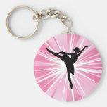 Bailarina rosada de la estrella llavero personalizado